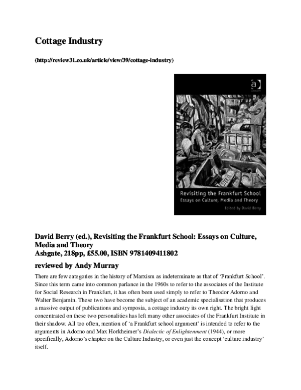 Revisiting the Frankfurt School: Essays on Culture, Media and Theory