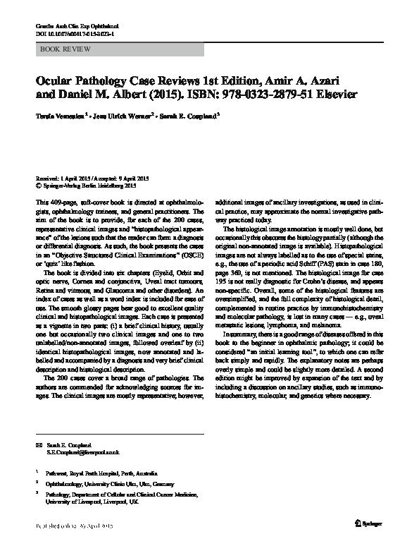 PDF) Ocular Pathology Case Reviews 1st Edition, Amir A