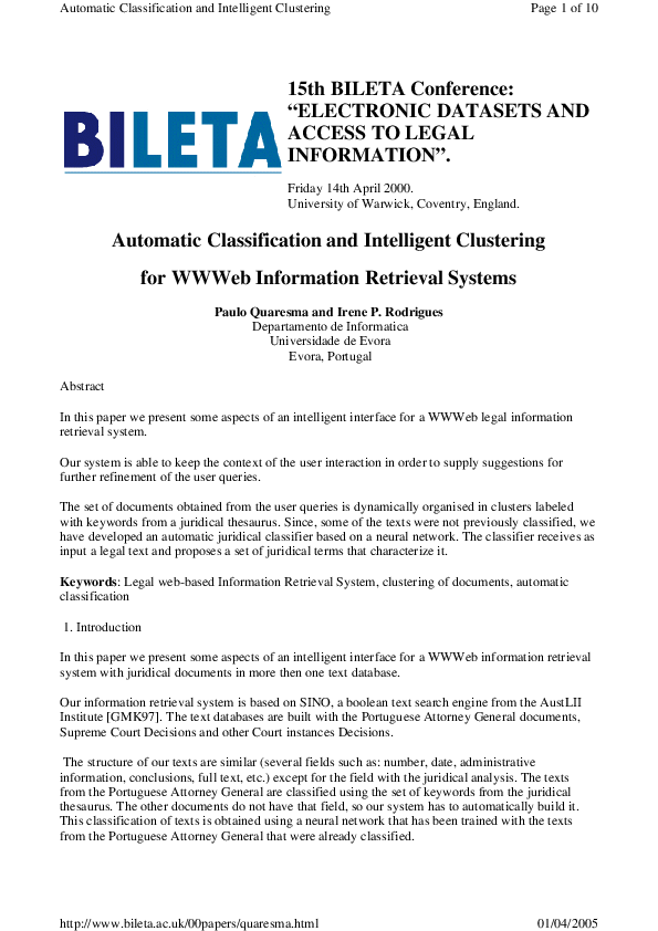 """PDF) 15th BILETA Conference:""""ELECTRONIC DATASETS AND ACCESS TO LEGAL"""