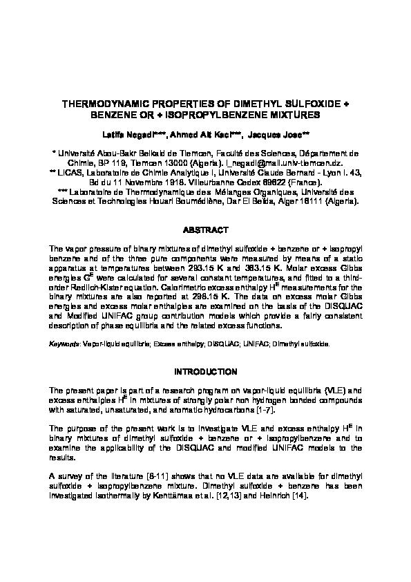 PDF) THERMODYNAMIC PROPERTIES OF DIMETHYL SULFOXIDE +