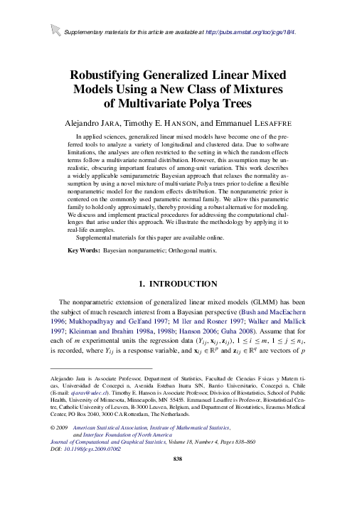 PDF) Robustifying Generalized Linear Mixed Models Using a