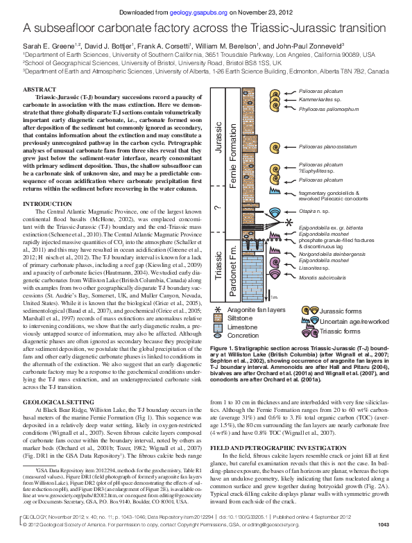 PDF) A subseafloor carbonate factory across the Triassic-Jurassic