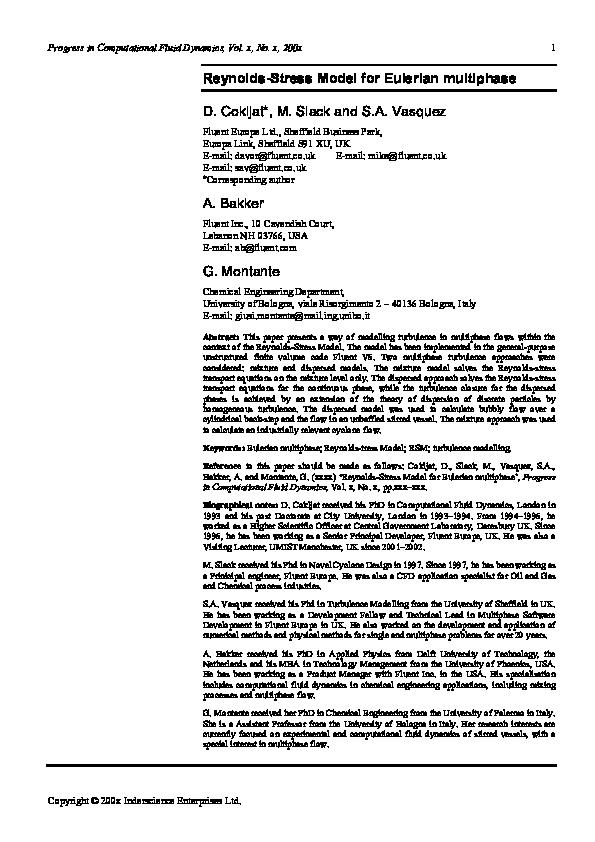 PDF) Reynolds-Stress Model for Eulerian multiphase | Davor Cokljat