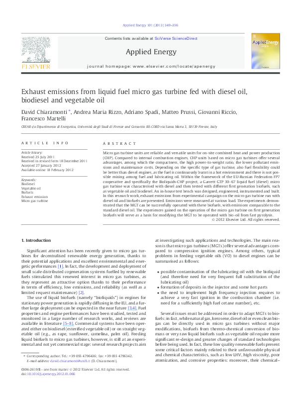 PDF) Exhaust emissions from liquid fuel micro gas turbine