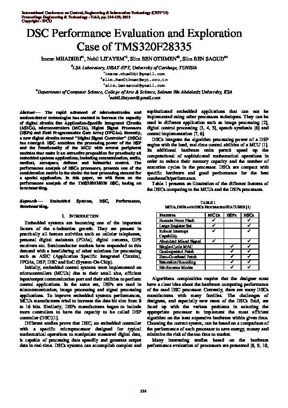 PDF) DSC Performance Evaluation and Exploration Case of