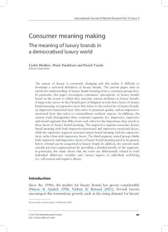 PDF) Consumer meaning making: the meaning of luxury brands in a