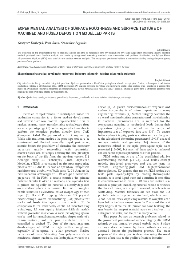 PDF) Experimental analysis of surface roughness and surface