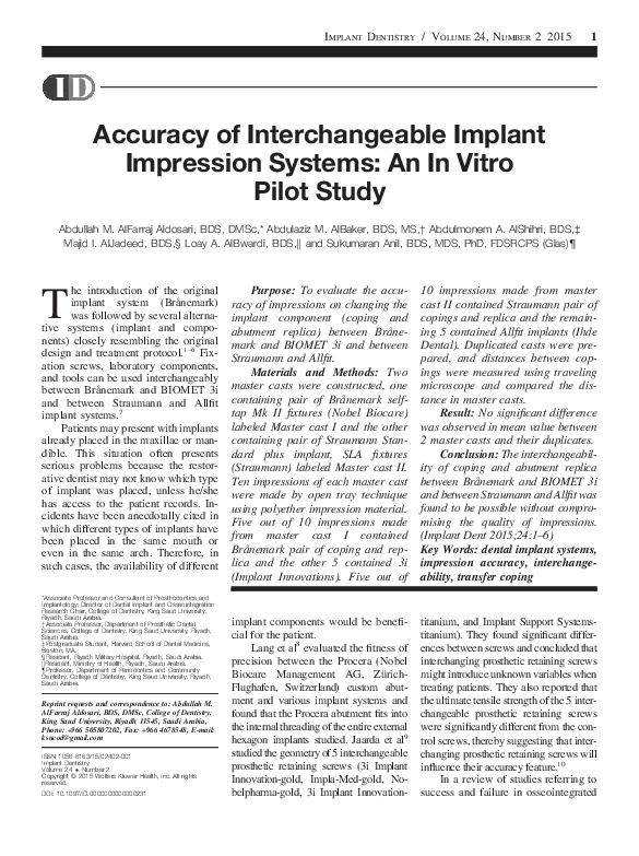 PDF) Accuracy of Interchangeable Implant Impression Systems: An In