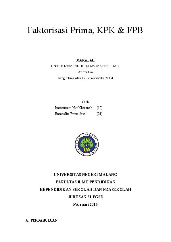 Doc Makalah Kpk Fpb Imroatusani N K Academia Edu