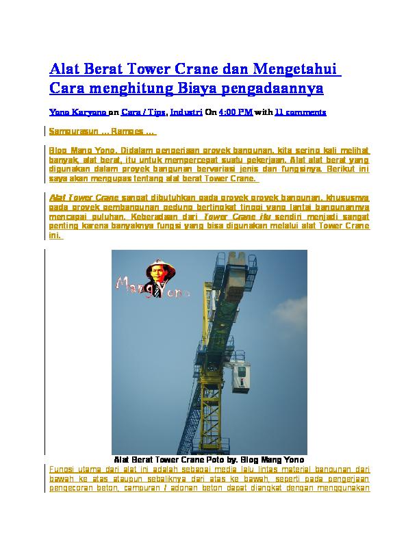 Doc Alat Berat Tower Crane Dan Mengetahui Cara Menghitung Biaya Pengadaannya Novtiez Sarira Sarira Academia Edu