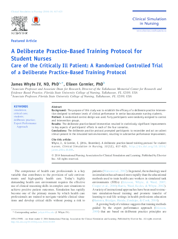 PDF) A Deliberate Practice-Based Training Protocol for