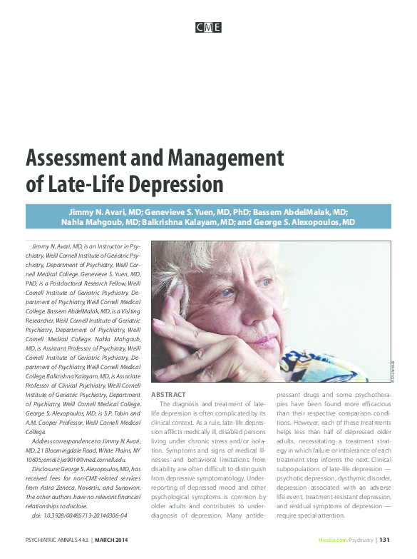 PDF) Assessment and Management of Late-Life Depression