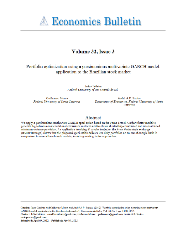 PDF) Portfolio optimization using a parsimonious multivariate GARCH