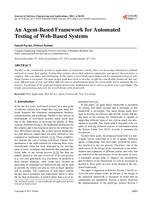 PDF) An Agent-Based Framework for Automated Testing of Web