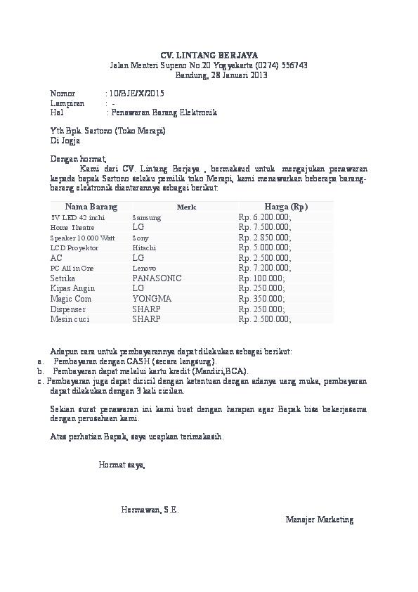 Doc Contoh Surat Penawaran 1 Stenly Fischer Academiaedu