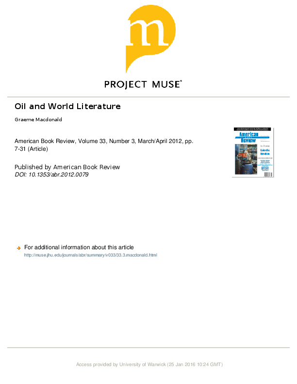 PDF) Oil and World Literature | Graeme Macdonald - Academia edu