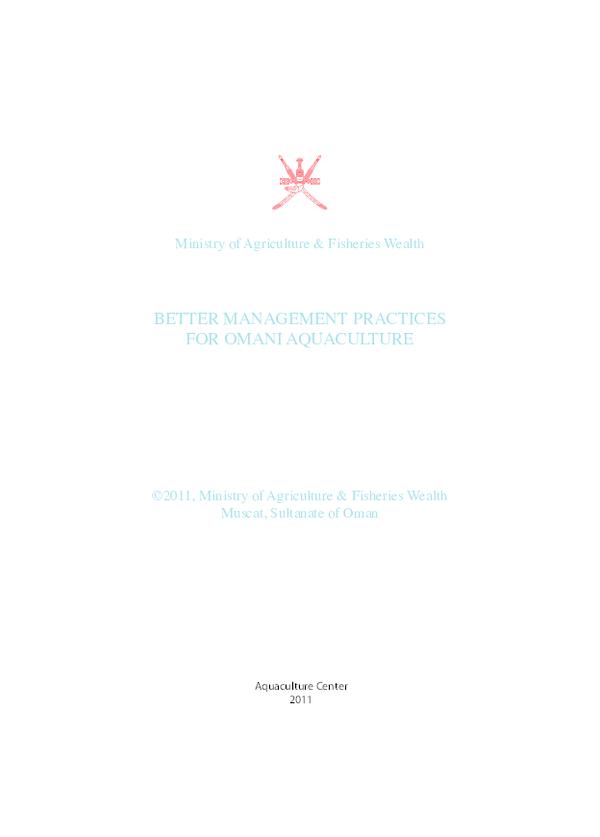 PDF) BETTER MANAGEMENT PRACTICES FOR OMANI AQUACULTURE   Ewen McLean