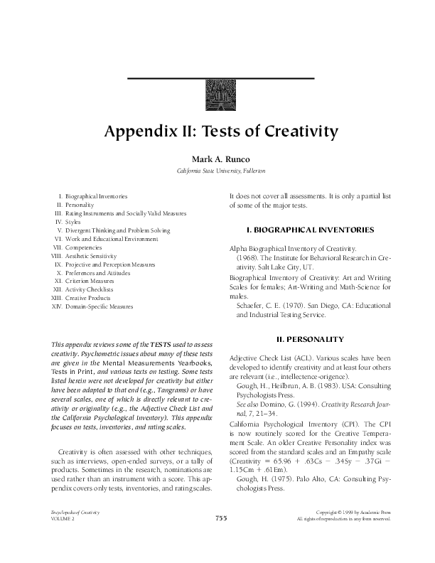 PDF) Appendix II: Tests of Creativity | Mark Runco