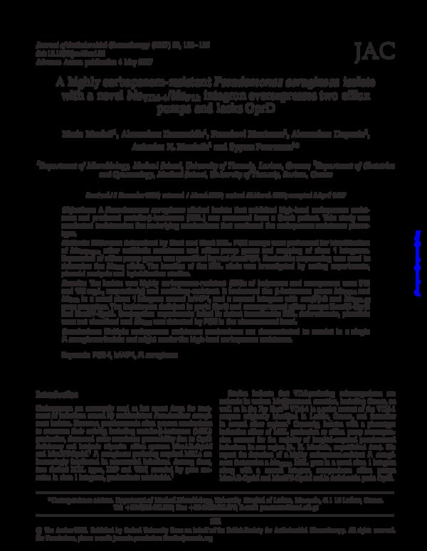 PDF) A highly carbapenem-resistant Pseudomonas aeruginosa