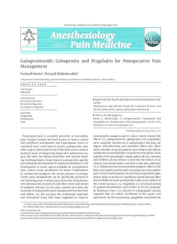 PDF) Gabapentinoids: Gabapentin and Pregabalin for