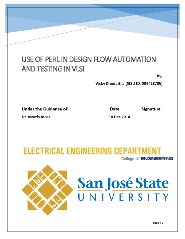 PDF) USE OF PERL IN DESIGN FLOW AUTOMATION AND TESTING IN VLSI