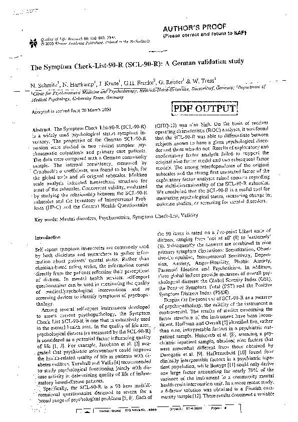 PDF The Symptom Check List 90 R SCL A German Validation