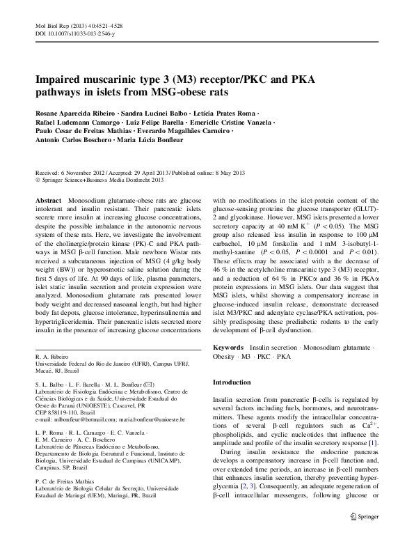 PDF) Impaired muscarinic type 3 (M3) receptor/PKC and PKA