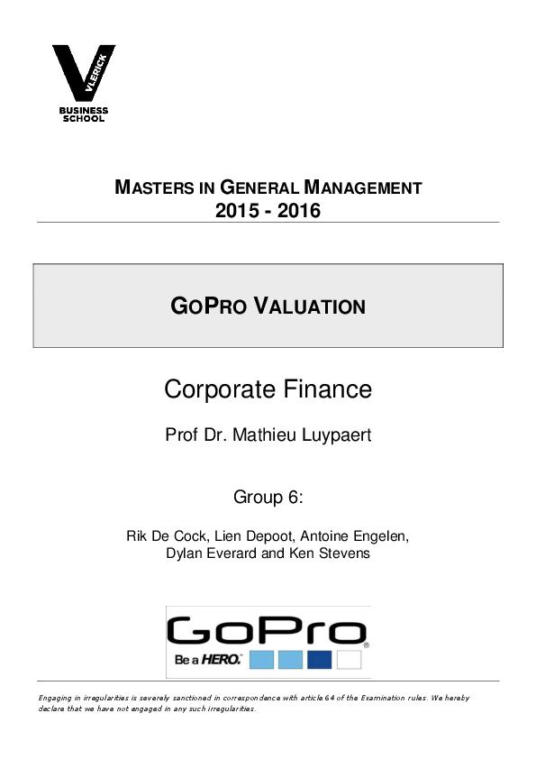 PDF) Valuation of GoPro | Antoine Engelen and Ken Stevens