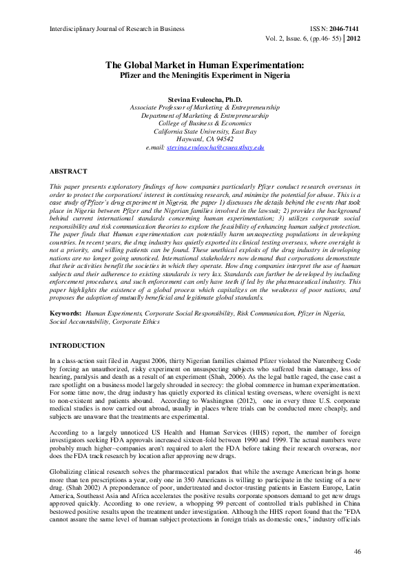 PDF) The Global Market in Human Experimentation: Pfizer and