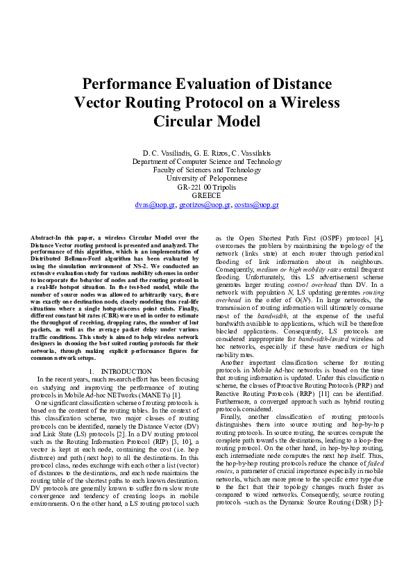 PDF) Performance Evaluation of Distance Vector Routing