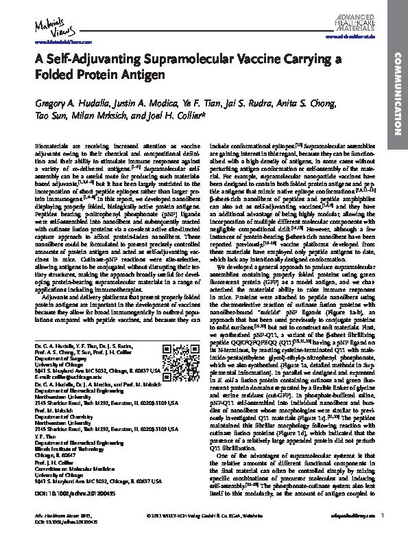 PDF) A Self-Adjuvanting Supramolecular Vaccine Carrying a Folded