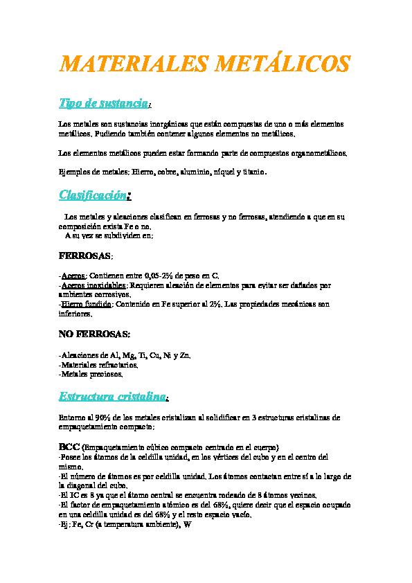 Doc Materiales Metálicos Tipo De Sustancia Mari Salcedo