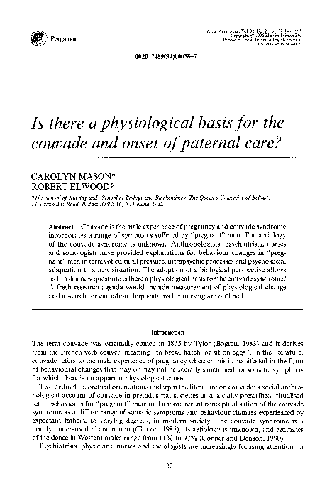 PDF) Is there a physiological basis for the couvade and