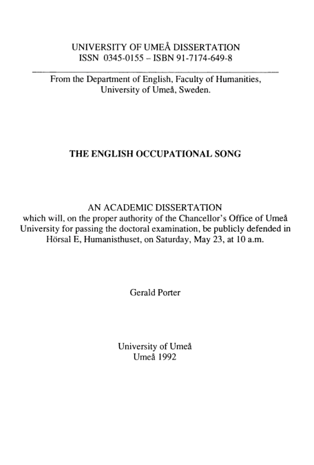 PDF) The English Occupational Song   Gerald Porter