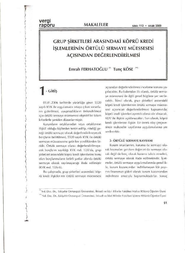 PDF) Grup Şirketleri Arasındaki Köprü Kredi İlişkilerinin