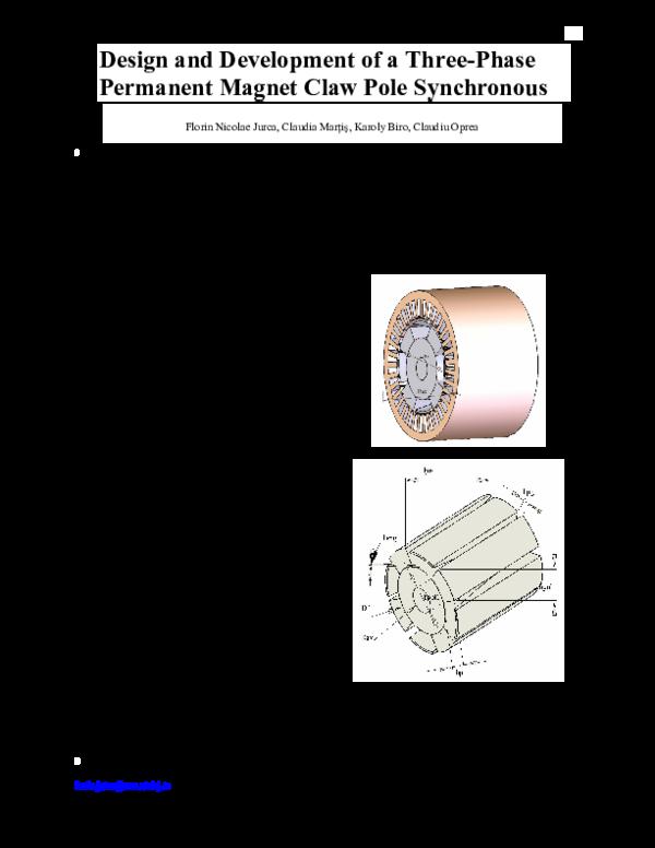 Pdf Design And Development Of A Three Phase Permanent Magnet Claw Pole Synchronous Florin Jurca Academia Edu
