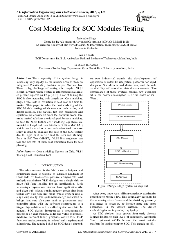 PDF) Cost Modeling for SOC Modules Testing | Sukhleen bindra