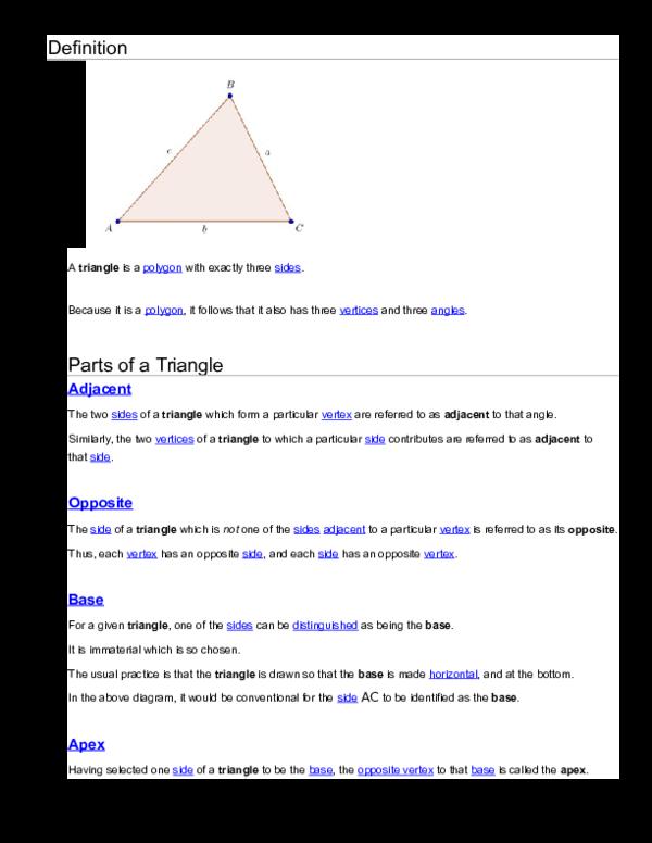Doc Definition Parts Of A Triangle Christine Singh Academia Edu