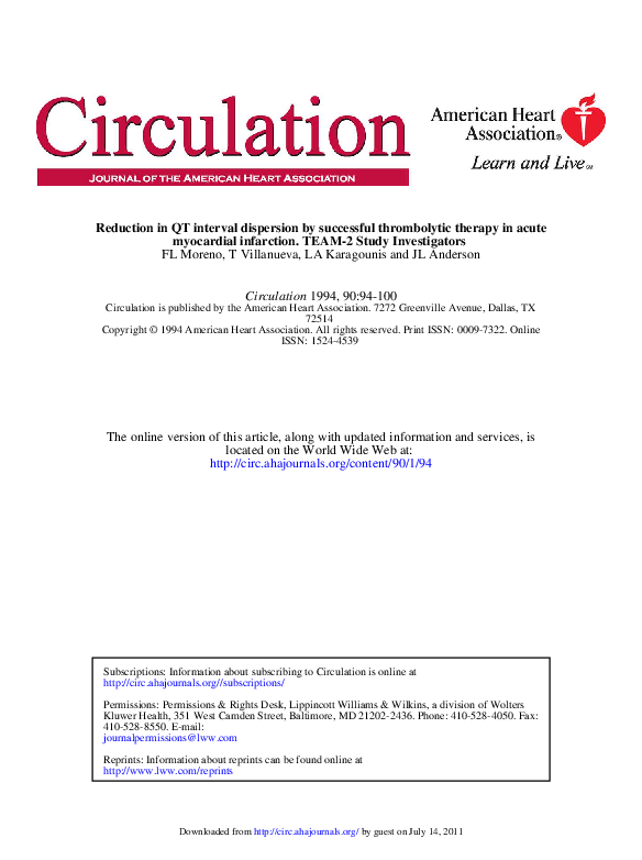 PDF) Reduction in QT interval dispersion by successful