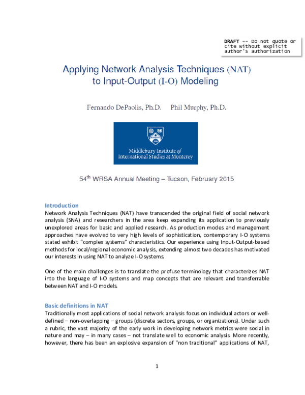 PDF) Applying Network Analysis Techniques (NAT) to Input