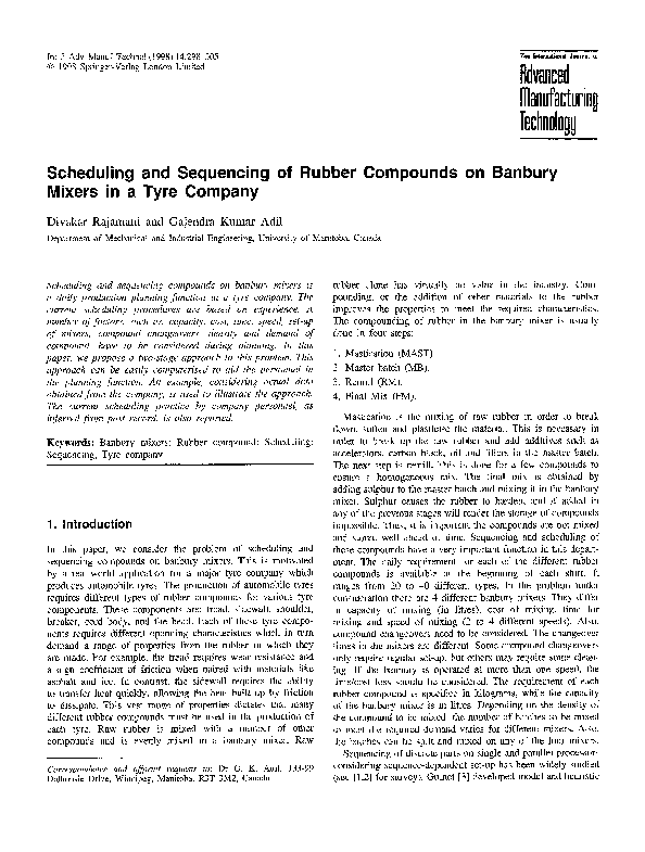 PDF) Scheduling and sequencing of rubber compounds on banbury mixers