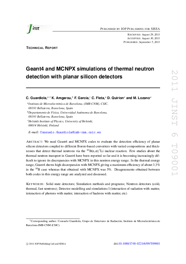 PDF) Geant4 and MCNPX simulations of thermal neutron