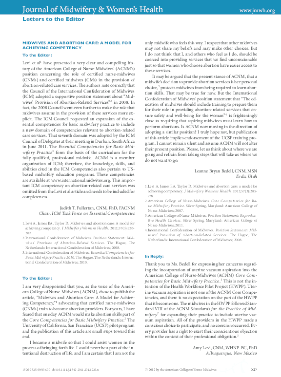 PDF) MIDWIVES AND ABORTION CARE: A MODEL FOR ACHIEVING COMPETENCY