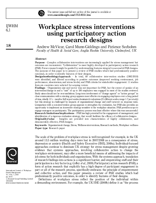 workplace stress in nursing a literature review andrew mcvicar