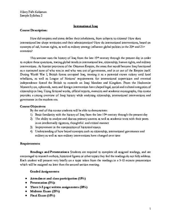 PDF) Sample Syllabus, International Iraq | Hilary Falb