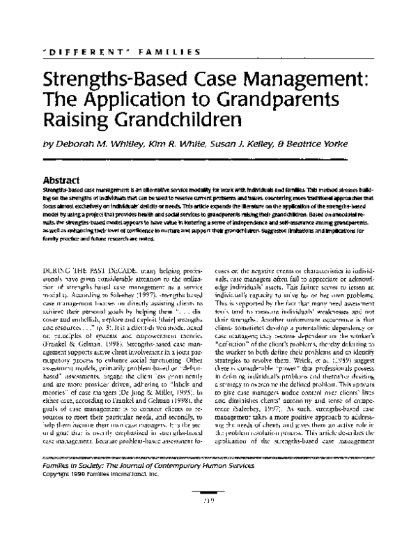 PDF) Strengths-Based Case Management: The Application to