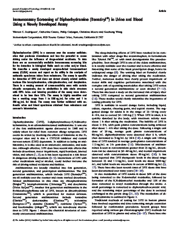 PDF) Immunoassay Screening of Diphenhydramine (Benadryl(R)) in Urine