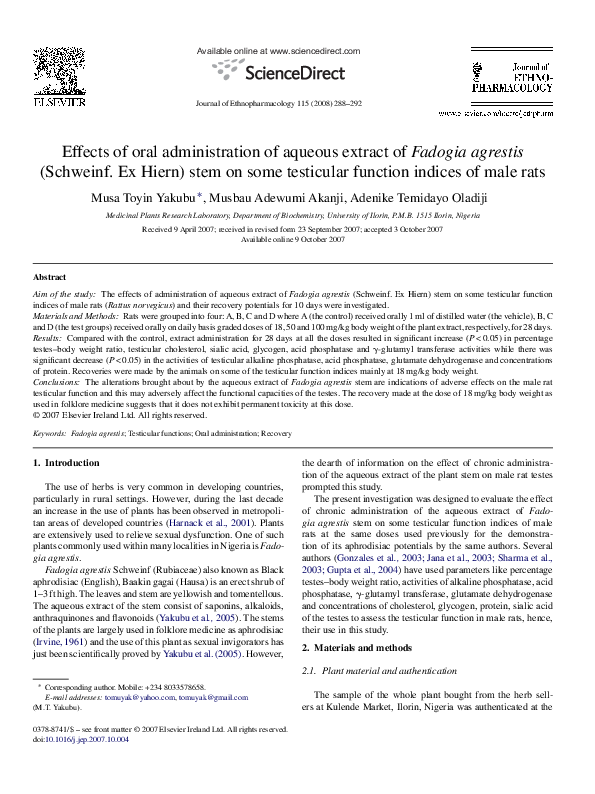 PDF) Effects of oral administration of aqueous extract of