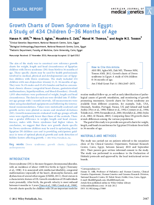 Pdf Growth Charts Of Down Syndrome In Egypt A Study Of 434