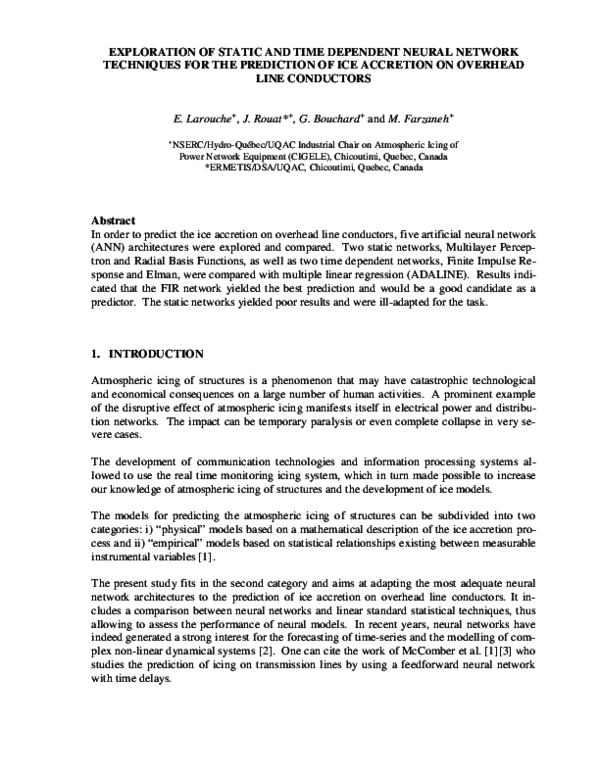 PDF) Exploration of static and time dependent Neural Network